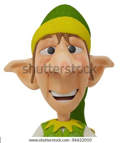 elf the santa helper cartoon in self portrait - stock photo