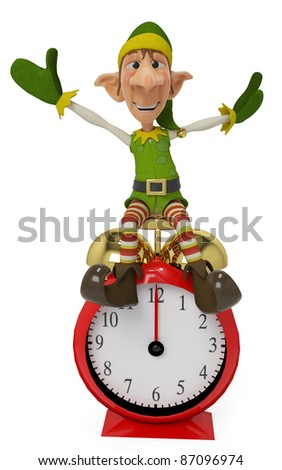 elf the santa helper cartoon in xmas right on the time - stock photo