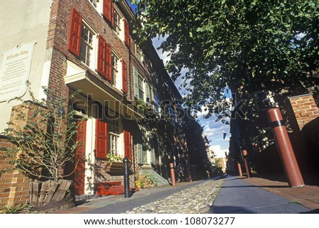 Elfreth's Alley, the oldest street in America, Philadelphia, Pennsylvania - stock photo