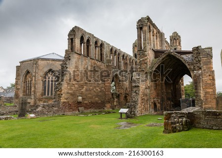 Elgin Cathedral, a medieval ruin in Scotland - stock photo