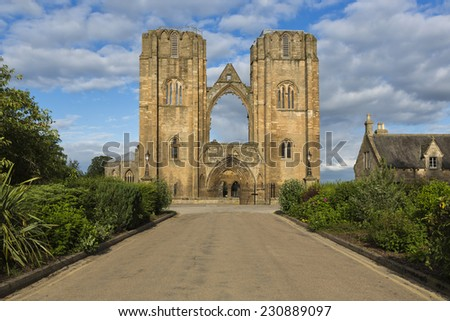 Elgin Cathedral in the north east of Scotland is a majestic ruin - stock photo