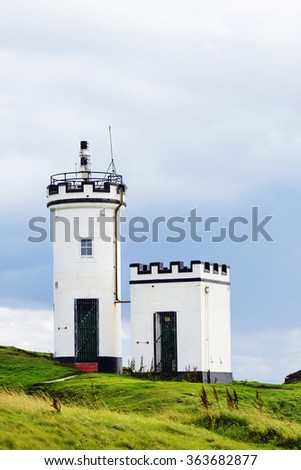 Elie Ness Lighthouse in the town of Elie, Fife , Scotland. - stock photo