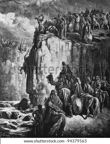 Elijah executes the prophets of Baal. 1) Le Sainte Bible: Traduction nouvelle selon la Vulgate par Mm. J.-J. Bourasse et P. Janvier. Tours: Alfred Mame et Fils. 2) 1866 3) France 4) Gustave Doré - stock photo