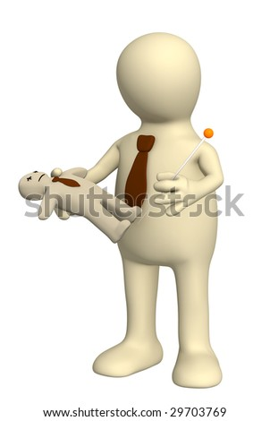 Elimination of the competitor by means of voodoo - stock photo