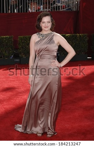 Elisabeth Moss, wearing a Reem Acra gown, at 61st Primetime Emmy Awards - ARRIVALS, Nokia Theatre, Los Angeles, CA September 20, 2009  - stock photo