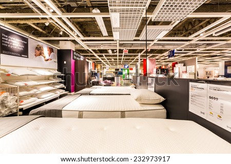 ELIZABETH, NJ - NOVEMBER 23, 2014: Bedroom section in an IKEA store. Founded in 1943, IKEA is the world's largest furniture retailer. IKEA operates 351 stores in 43 countries. - stock photo