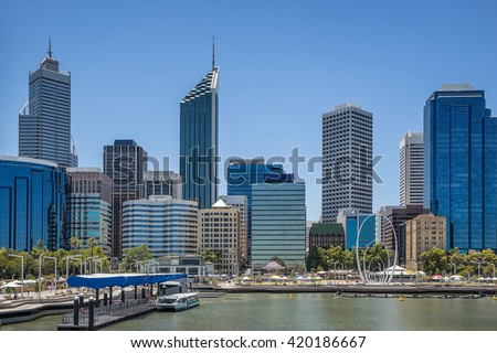 Elizabeth Quay on the waterfront of Perth in Western Australia - stock photo