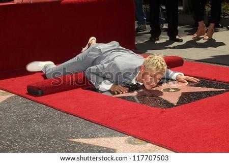 Ellen DeGeneres at the Ellen Degeneres Star on the Hollywood Walk of Fame Ceremony, Hollywood, CA 09-04-12 - stock photo