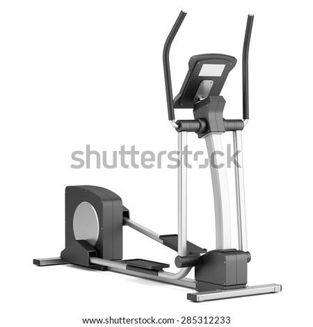 elliptical cross trainer isolated on white background - stock photo