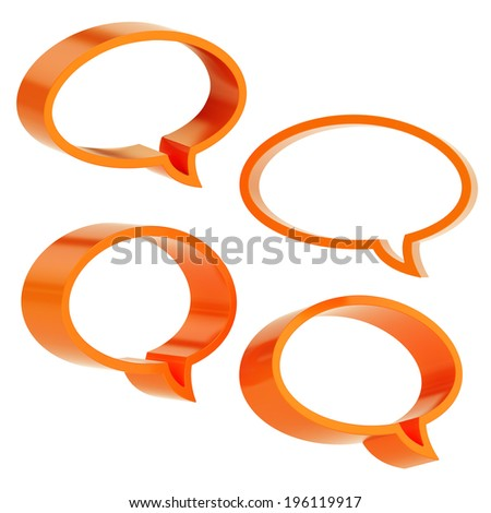 Elliptical shaped orange text bubble dimensional shapes isolated over the white background, set of four foreshortenings - stock photo