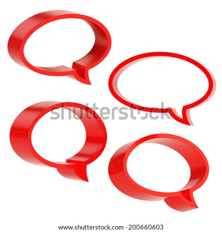 Elliptical shaped red text bubble dimensional shapes isolated over the white background, set of four foreshortenings - stock photo