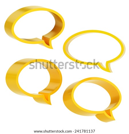 Elliptical shaped yellow text bubble dimensional shapes isolated over the white background, set of four foreshortenings - stock photo
