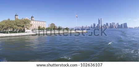 Ellis Island, Manhattan Skyline, New York - stock photo