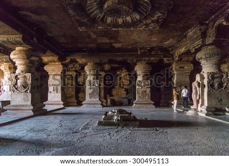 ELLORA, INDIA - 14 JANUARY 2015: Ellora Caves is an archaeological site close to city of Aurangabad. Well known for its monumental caves, Ellora is a World Heritage Site. - stock photo