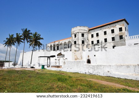 Elmina Castle (also called the Castle of St. George) is located on the Atlantic coast of Ghana west of the capital, Accra. It is a UNESCO World Heritage Site. - stock photo