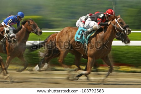 """ELMONT, NY - MAY 28: Jockey Ramon Dominguez and """"Star of New York"""" race to a second-place finish in an allowance race at Belmont Race Track on May 28, 2012 in Elmont, NY. - stock photo"""