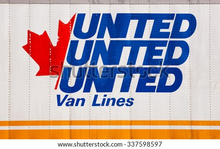 ELMSDALE, CANADA - NOVEMBER 10, 2015: United Van Lines logo on truck trailer. United Van Lines is a moving company headquartered in Fenten, Missouri. United Van Lines is part of UniGroup, Inc. - stock photo
