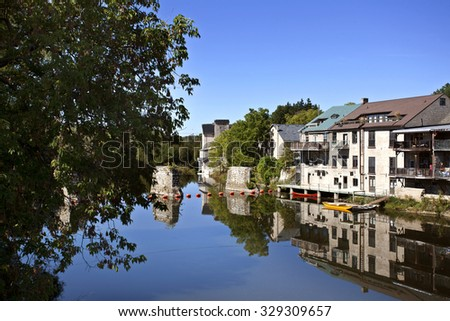 Elora Ontario Canada beatiful scenic town tourism - stock photo