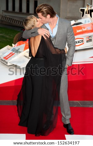 """Elsa Pataky and Chris Hemsworth arriving for the """"Rush"""" World premiere at the Odeon Leicester Square, London. 02/09/2013 - stock photo"""