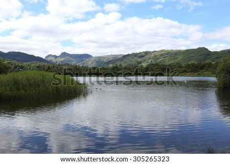 Elterwater in the English Lake District, a quiet and tranquil backwater in the National Park. - stock photo