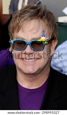 Elton John at the Los Angeles premiere of 'Gnomeo And Juliet' held at the El Capitan Theatre in Hollywood on January 23, 2011.  - stock photo