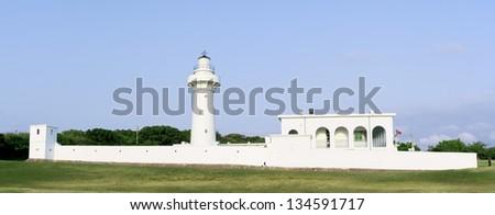 Eluanbi Lighthouse, south of Taiwan coast - stock photo