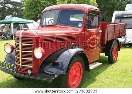 ELVASTON, DERBYSHIRE, UK. JULY 04, 2015.  Vintage 1949 Bedford K type truck from New Zealand restored and on display at Elvaston country stem rally in Derbyshire, UK. - stock photo