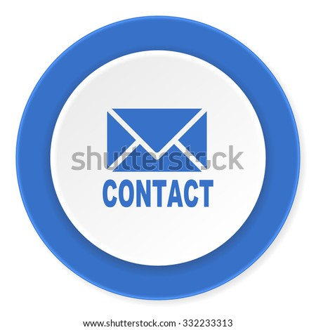 email blue circle 3d modern design flat icon on white background  - stock photo