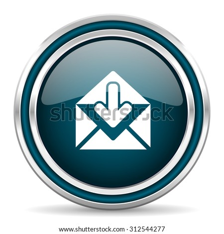 email blue glossy web icon with double chrome border on white background with shadow    - stock photo