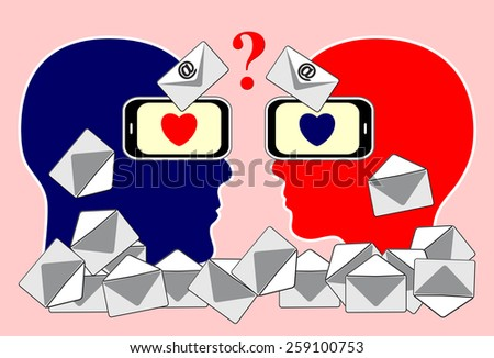 Email Communication Problem. Concept sign of couple finding it difficult to communicate by  messages via smartphones - stock photo