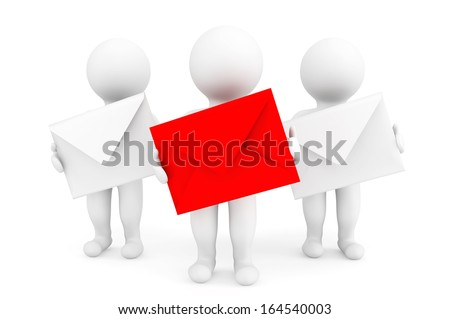 Email Concept. 3d persons with envelopes on a white background - stock photo