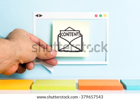 Email content marketing. Producing creative content. Hand showing illustration of letter with the word content. - stock photo