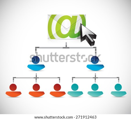 email correspondence people conceptual map illustration design over white background - stock photo