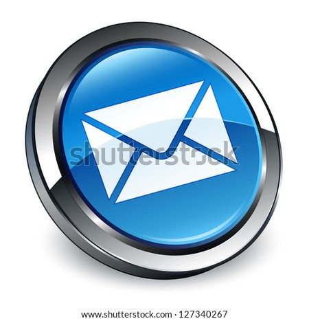 Email icon 3d blue button - stock photo