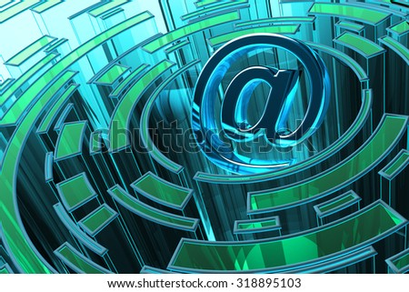 Email, internet communication and computer technology concept, electronic mail symbol with circles around it on blue abstract background - stock photo