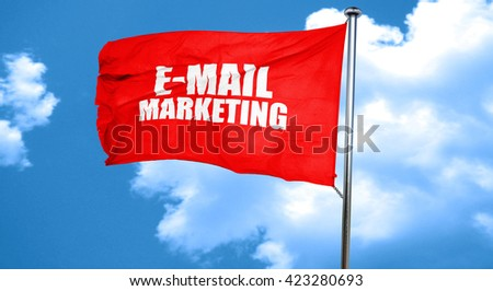 email marketing, 3D rendering, a red waving flag - stock photo