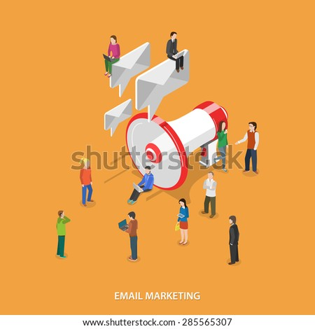 Email Marketing Flat Isometric Concept. People With Mobile Devices Stand and Walks Near Megaphone Which Sends Emails Like Speech Bubbles. - stock photo