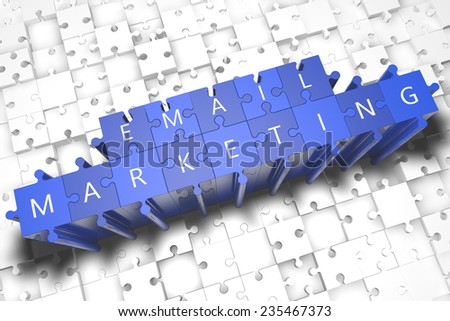 Email Marketing - puzzle 3d render illustration with block letters on blue jigsaw pieces  - stock photo