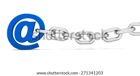 Email on the chain on a white background. 3d render - stock photo