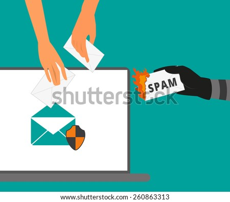 Email protection from spam. Spam letter is burning - stock photo