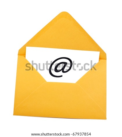 Email symbol in yellow envelope isolated on white - stock photo