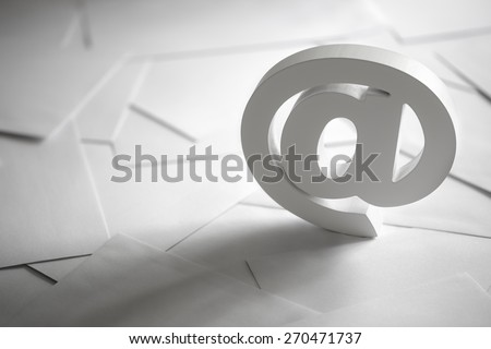 Email symbol on business letters concept for internet, contact us and e-mail address - stock photo