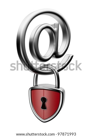 Email symbol with lock 3D. Concept of security. Isolated on white - stock photo
