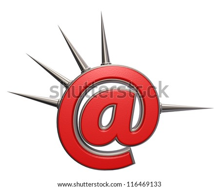 email symbol with prickles on white background- 3d illustration - stock photo