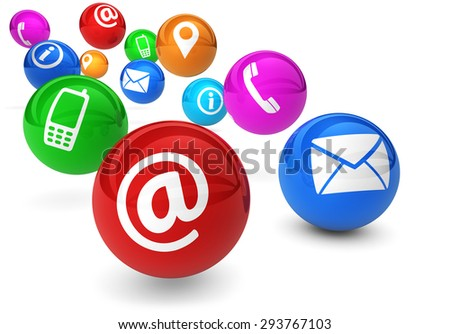 Email, web and Internet concept with contact and connection icons and symbols on bouncing colorful spheres isolated on white background. - stock photo