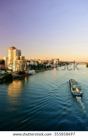 Embankment at dusk. Rostov-on-Don. Russia - stock photo