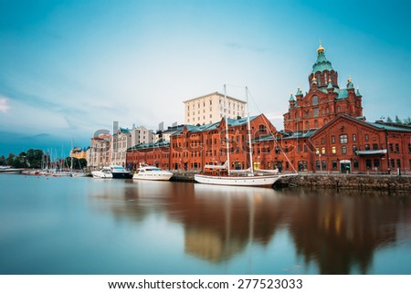 Embankment In Helsinki At Summer Evening, Finland. Uspenski Cathedral. Town Quay, Famous Place - stock photo