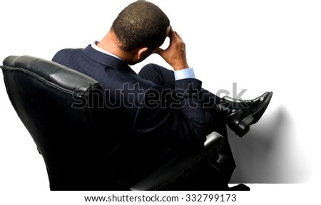 Embarrassed African man with short black hair in business formal outfit with hands on face - Isolated - stock photo