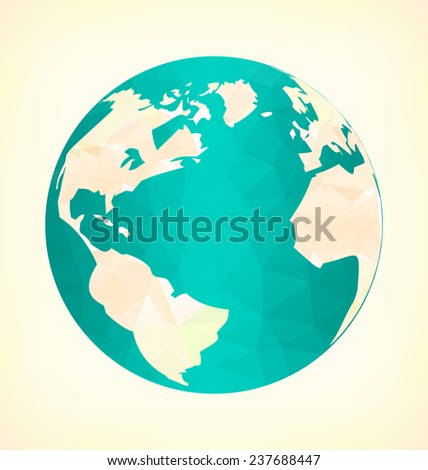Emblem with blue globe in triangles on yellow background - stock photo