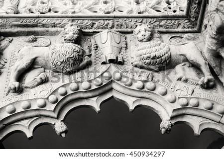 "Emboss of palace ""Palacio del infantado"" XV centuries in Guadalajara (Spain) - stock photo"